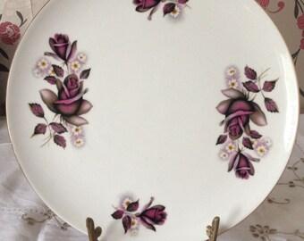 "Royal Imperial vintage ""Everlasting Rose"" English Fine Bone China Cake 9"" Plate.  Pretty Rose Detail and Gilt Trim."