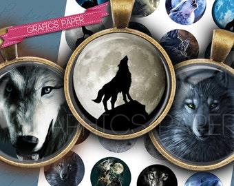 """Illustration of wolves - digital collage sheet - td110 - 1.5"""", 1.25"""", 30mm, 1 inch - Printable Images for Pendants, Crafts, Bottle Caps"""