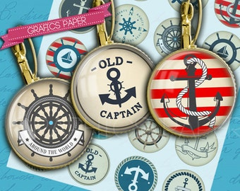 Nautical theme, anchors, rudders, sea, sailing - download digital collage sheet - td180P  30mm 20mm 18mm 16mm 12mm - Circle Bottle cap image