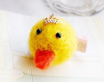 Cute felted duckie hair clip