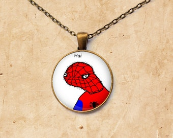 Meme necklace Spoderman pendant Dolan jewelry