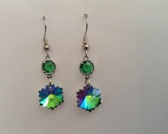 Sparkly green dangle earrings (item #175)