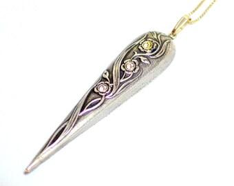 ON SALE Unusual Art Nouveau Sterling Silver Floral Paste Pendant