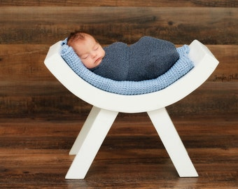 Newborn Photo Prop Curved Bench White
