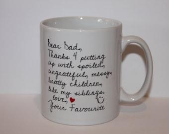 Shmug - Personalised fun 'Dear Dad' printed mug/cup