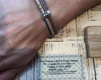 """Bracelet cuir """"Shomi 4 OM"""" (Shomi pour lui"""""""