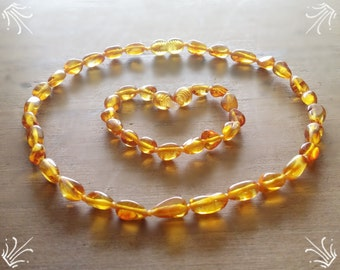 Golden Honey Baltic amber baby teething necklace - CERTIFIED Genuine - Organic