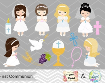 Girls First Communion Digital Clip Art, First Communion Clip Art, First Communion Girls Digital Clipart, Girl First Communion Clip Art, 0189