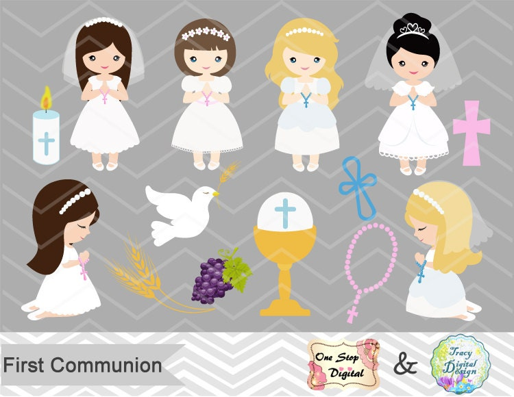 Girls First Communion Digital Clip Art First Communion Clip