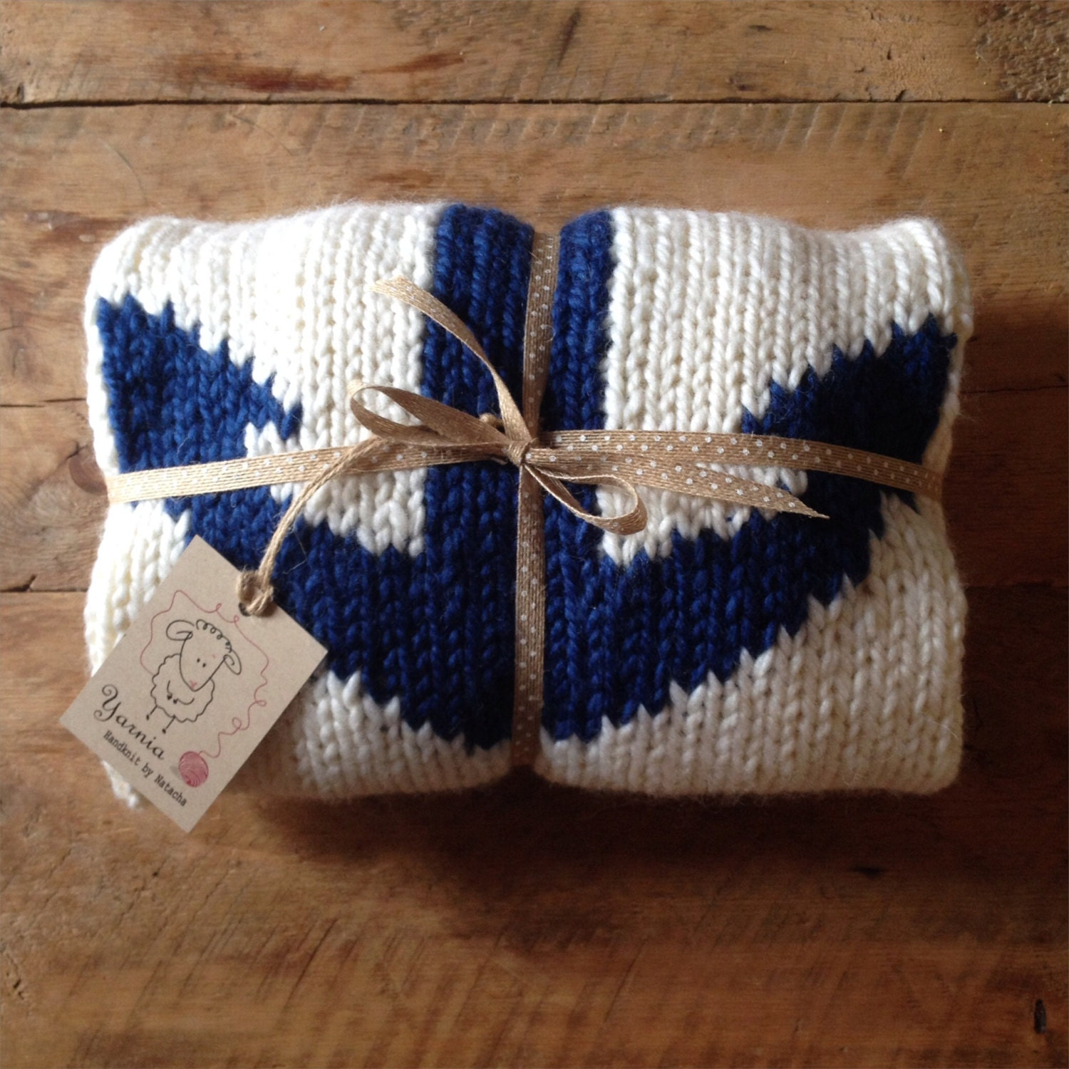 Nautical Cream Baby Blanket with Navy Blue Anchor Knitted for