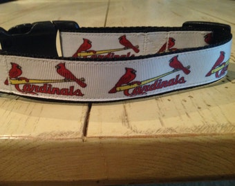 1 Inch Wide Custom Made Adjustable Cardinals Grosgrain Dog Collar