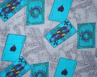 Cards design-Grey color-Rayon handprinted-By the yard-Fabric1980s-Craft supply-Clothing-Printed fabric-2y70cm