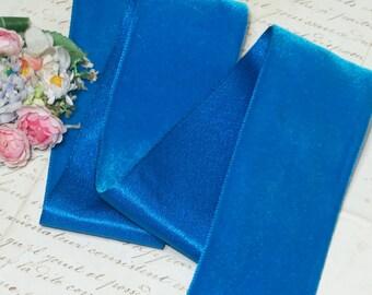 "2"" ~ AZURE BLUE ~ Vintage SWISS Velvet Ribbon Trim Jumeau Blue Color Doll Dress Victorian Edwardian Ladies Millinery Hat Supply Fabric Trim"