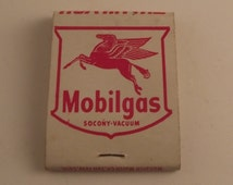 Vintage Mobilgas red horse matchbook, collectible miller & mcinnis mobil service seattle wash wa advertising piece
