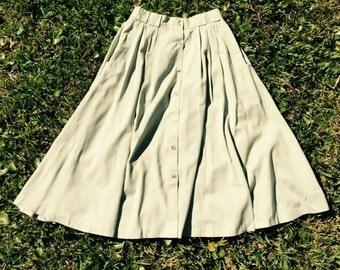 80s Pistachio Midi Button Up Skirt