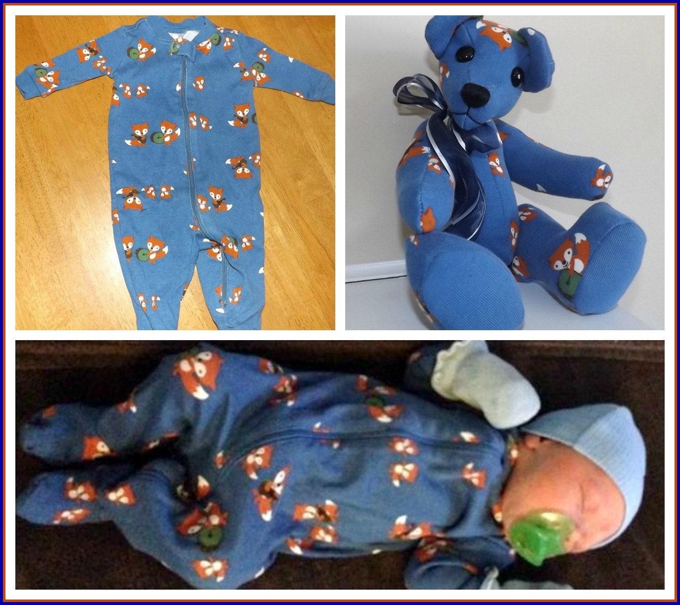 Memory teddy bears custom made from baby by SeeMoreBears