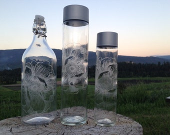 Flower Etched Glass Water Bottle