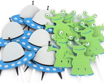 12 x Alien Cupcake toppers; Alien & Spaceship, birthday party