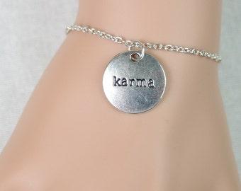 karma bracelet, silver karma quote charm, round karma pendant, best friends gift, mothers gift, yoga, everyday jewelry, adjustable bracelet