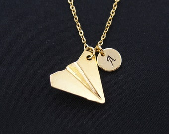 SALE initial necklace, paper airplane necklace, one direction, Harry styles, long necklace, gold plane charm on gold plated chain