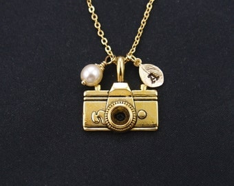 camera necklace, gold filled, initial necklace, Swarovski pearl choice, camera necklace, gold camera charm on gold chain, photographer gift