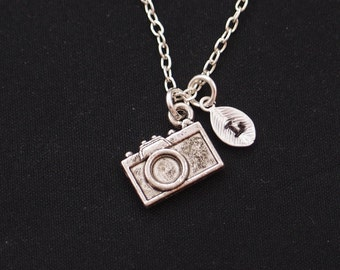 tiny camera necklace, sterling silver filled, initial necklace, silver camera charm on silver chain, photographer  gift, thank you gift