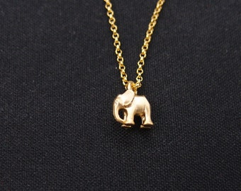 small elephant necklace, gold elephant charm on gold plated chain, good luck, gift for her, animal charm, bridal gifts, christmas gifts