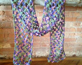 Crochet scarf purple pink green summery