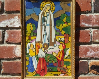 Our Lady Of Fatima Hand Painted Silk Vintage Religious Art