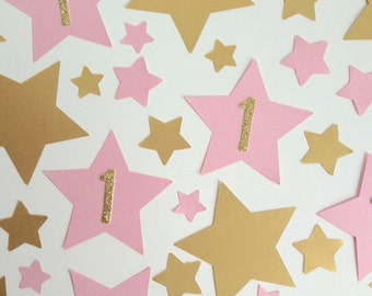 1st Birthday Gold and Pink Party Table Confetti Stars