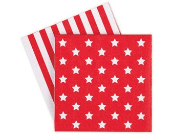 Napkins | Red Party Napkins | Red and White Stars & Stripes Napkins | Red Stripe Napkins | 20 per pack | Party Napkins | Red Napkins