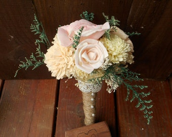 Sola Bouquet, Keepsake Bouquet, Bridesmaid, Peach, Sola Flowers, Wedding bouquet, Rustic Wedding, Woodland Wedding