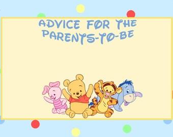 Winnie the Pooh Advice Card * Baby Shower