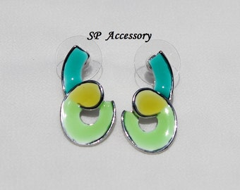 Colorful Earrings, Colorful Jewelry, Metallic Earrings, Blue Yellow Green earrings, stainless steel earrings, jewelry earrings