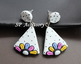 Lovely Earrings Flower Dot, earrings clay, jewelry earrings, clay earrings dangle&drop