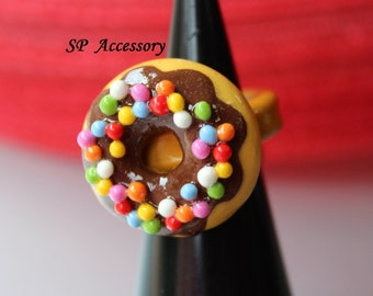 Doughnut ring, Fancy Ring, ring clay, jewelry ring, cute ring, clay ring