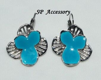 Aquamarine Flower Earrings, stainless steel earrings, jewelry earrings