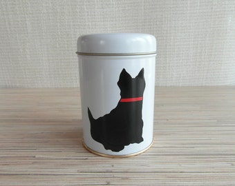 Cat Tin Box Black and White with Red Accents Tin Container