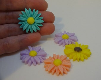 5 mix colour daisies flowers decoden cabochons 25x25mm embellishments resin cabochon flatback scrapbook embellishment DIY phone