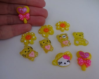 Set of 10 mix yellow resin flatback decoden cabochons summer Kawaii embellishments scrapbook DIY phone hairbow centre clip pin