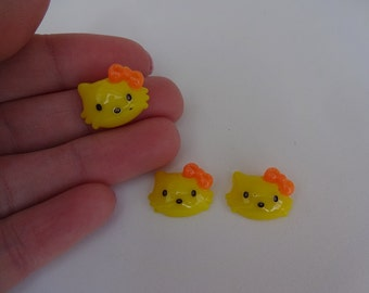 3 yellow Hello Kitty heads resin flatback decoden cabochons 17x13mm Kawaii embellishments scrapbook DIY phone hairbow centre clip pin