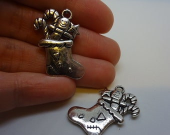 2 silver plated Christmas stockings charms pendants DIY bracelets and necklaces jewellery making charms Christmas