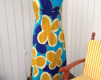 Gorgeously perfect vintage 1960's Hawaiian maxi dress Blue gold floral REDUCED PRICE!