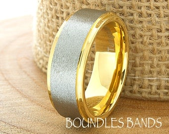 Gold Tungsten Wedding Band Ring Stepped Two Tone Customized Laser Engraved Ring Mens Womens His Hers Unisex Ring 8mm Design Classic Modern