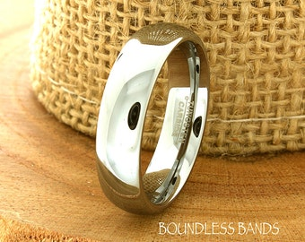 Tungsten Wedding Band Domed High Polished Customized Tungsten Band Any Design Laser Engraved Ring Mens Tungsten Ring Anniversary Ring Band