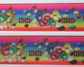"Lot of 2 Metres of 7/8"" Grossgrain Ribbon - Chocolate M&M's - For Craft"