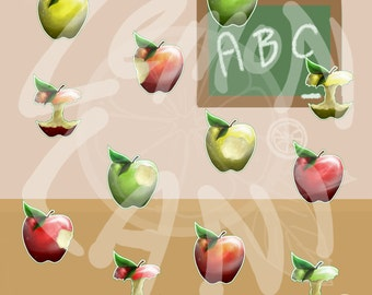 50% OFF Realistic Apples Clipart, teacher supply, scrap booking, school supplies