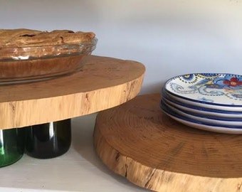 Wood Slab and Wine Bottle Pie Stand