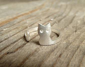 Silver Ring Cat/ 925 Sterling Silver