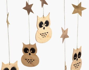 Baby mobile woodland - Woodland nursery mobile - Nursery Mobile - Baby Mobile - Owl Mobile - Wooden baby mobile -Natural Mobile -Mobile baby